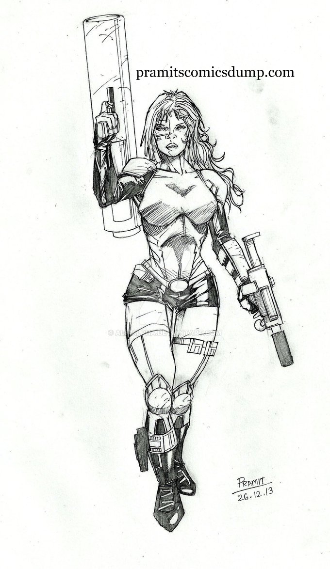 futuristic cannon girl by Pramit